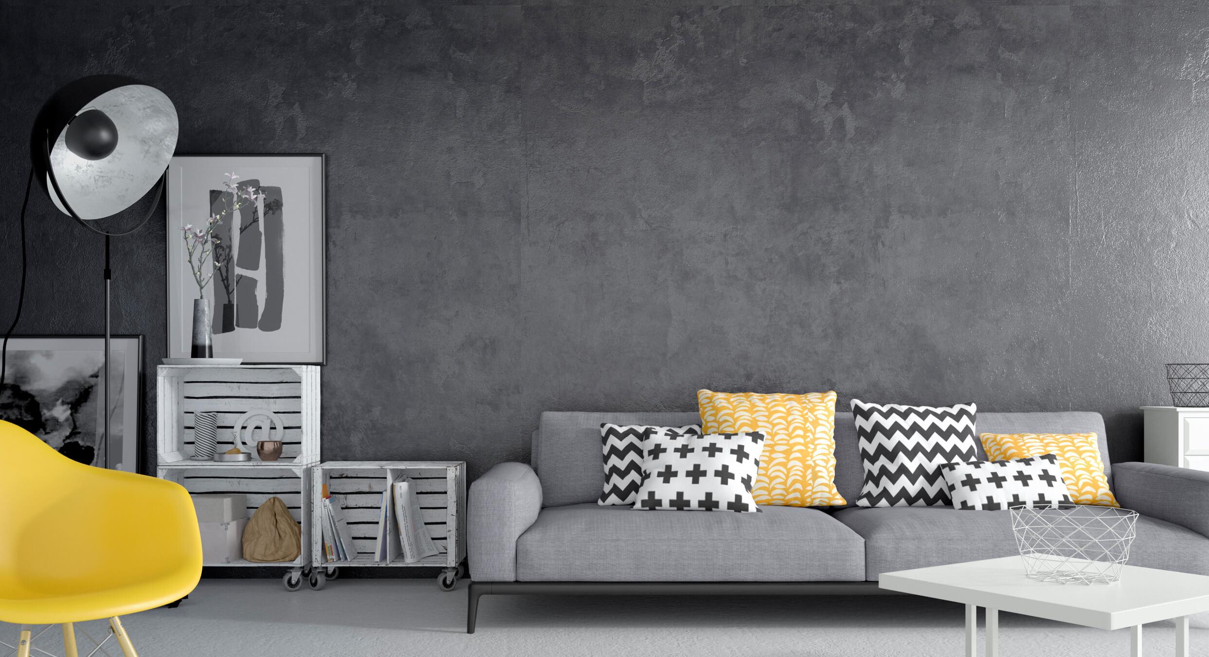 Render 3D realista de salón moderno en grises y amarillos