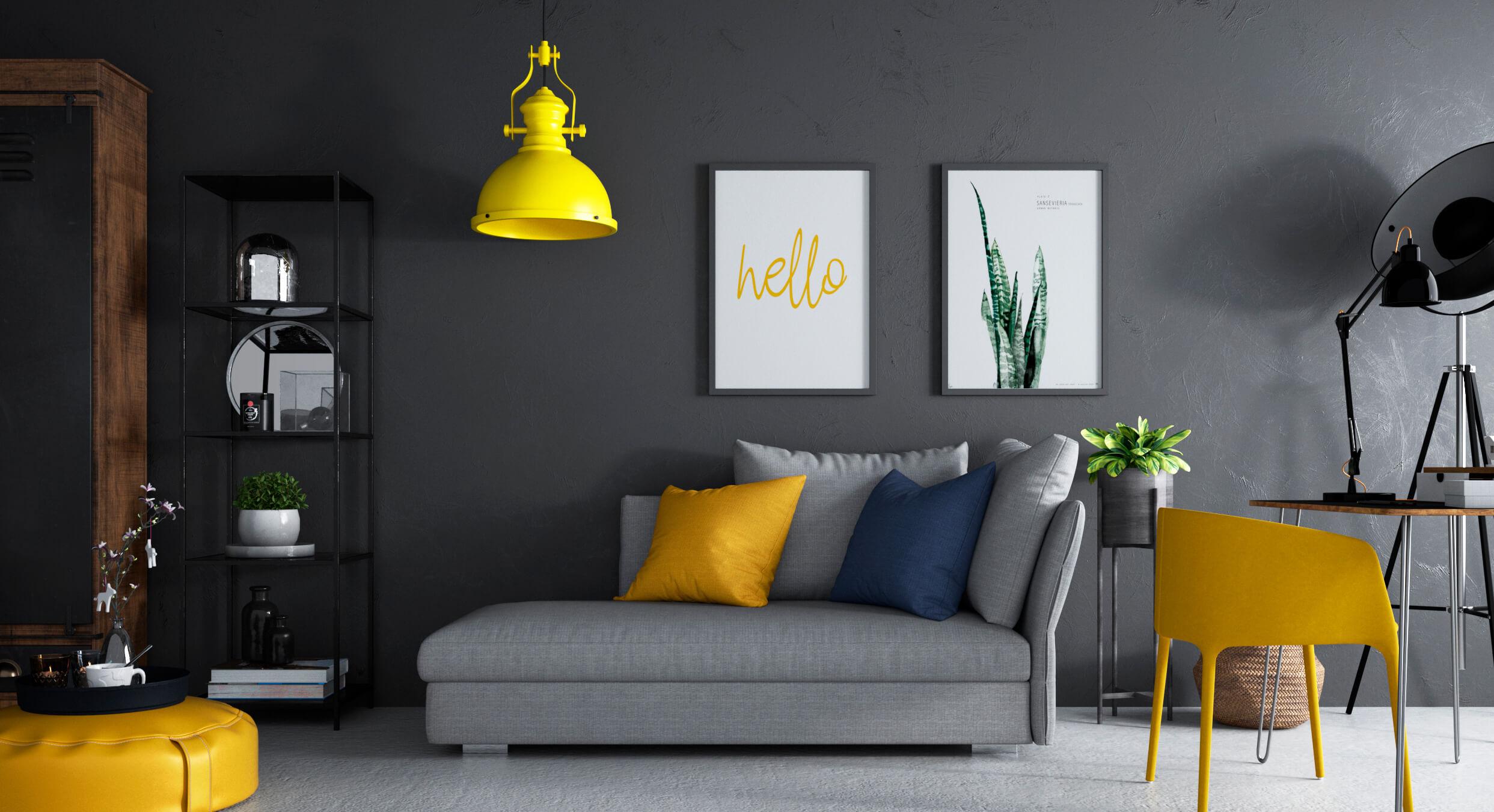 Render 3D realista de salón moderno en tonos amarillos, azules y grises