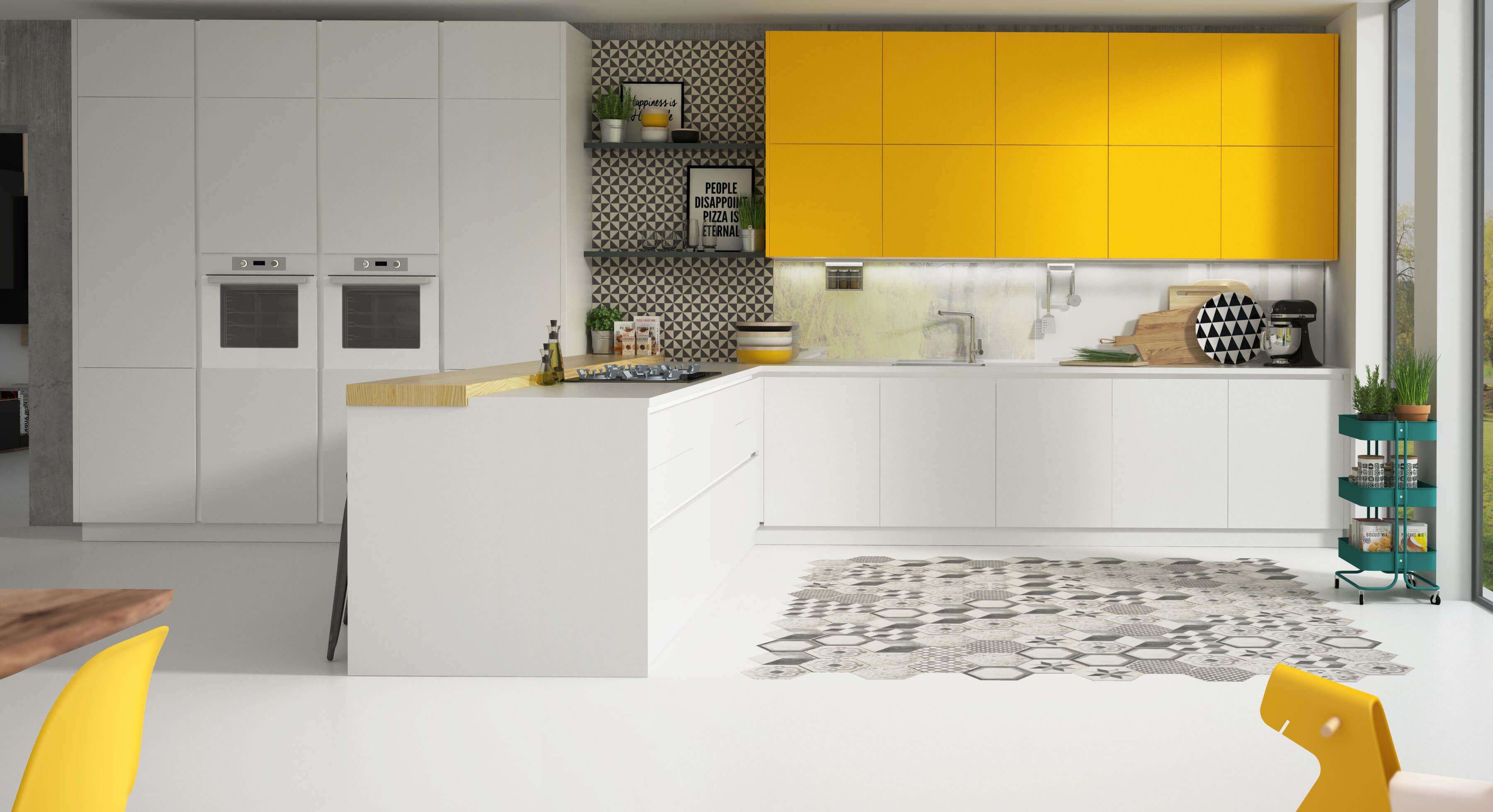 Escena de cocina amplia de lujo en blanco y mostaza, render 3D