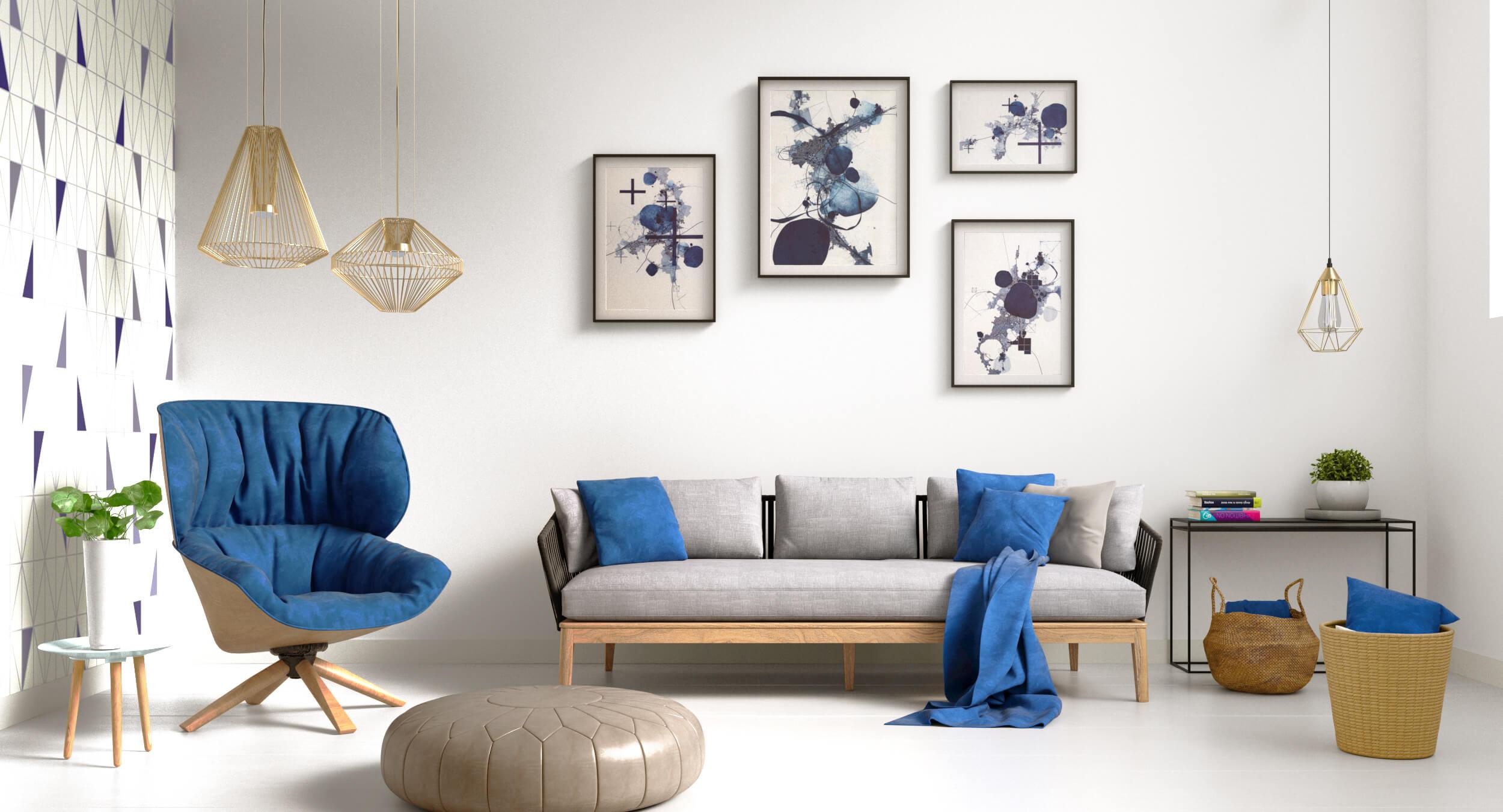 Render 3D realista de salón moderno en tonos azules y grises
