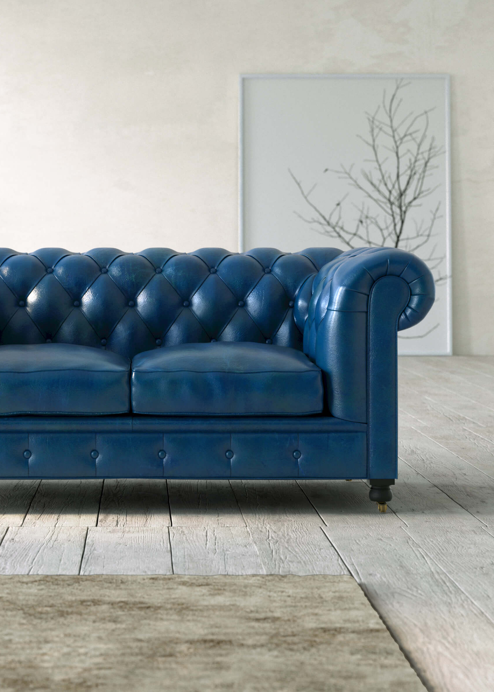 Detalle cercano de un sofá en 3D para book de infografía hiperrealistas