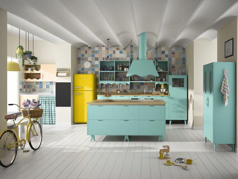 Render 3d infografía de cocina verde menta y motsaza para catálogo de muebles